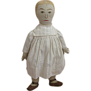 Antique American Cloth Doll with Embroidered Features