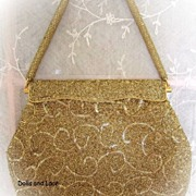 Elegant Circa 1950s Hand Beaded Made in Hong Kong Evening Clutch or Purse