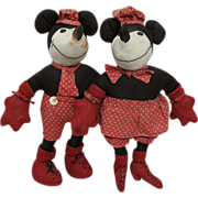 1930s Folk Art Mickey and Minnie Mouse Dolls
