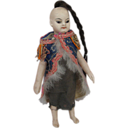 Stunning French All Bisque Slender Doll with BARE FEET Fashioned as Asian Child Single Braid