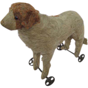 Early Steiff Dog on Wheels Pull Toy Circa 1910-1915