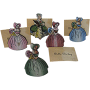 Vintage Enameled Place Card Holder Original Card Dollie Darling