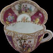 Very Fine Miniature Cup and Saucer  Circa 1800s Carl Thieme