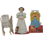 Rare Mother Hubbard with Dog and Cupboard Paper Doll Set