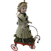 Outstanding Fine French Doll Pull Toy Circa 1880s All Original