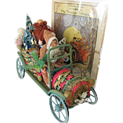 Very Rare and Wonderful Father Christmas in Wood and Wicker Car Germany 1915-1920s