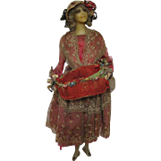 Fabulous Antique Wax Figure Doll Seller of Flowers Circa 1915 Signed on Base