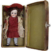Beautiful Small Antique All Bisque German Doll Circa 1910 in Presentation Case