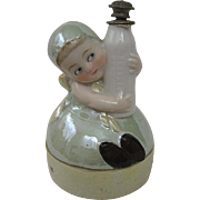 Rare German Porcelain Iridescent Perfume or Powder Box Marked Germany Toddler or Child with Ba