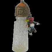 Vintage Ornate Perfume Bottle Beaded Dangling Dolls
