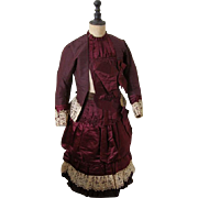 SOLD Outstanding Antique Silk Plum Colored Dress Circa 1880s for Child All Original Superb Con