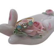 Charming Art Nouveau Opal and Diamond Ring in Small Jewelry Box