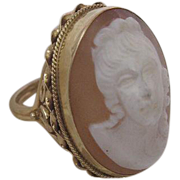 Victorian Revival Rare Large Carved Cameo Ring Set in 14 Karat Yellow Gold
