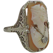 Desirable Circa 1918 Carved Cameo Ring with Diamond