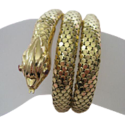 Victorian Revival 1930s 18 Karat Gold Serpent Bracelet