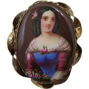 Stunning Hand Painted Portrait Brooch Circa 1840s