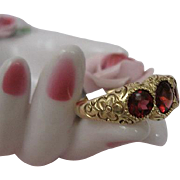 Victorian Garnet Ring Hand Engraved