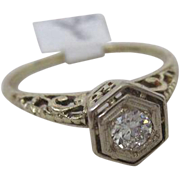 Art Deco Filigree Ring with European Cut Diamond