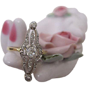 French Late Nouveau Diamond Ring Collette Setting