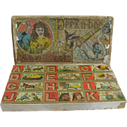 Extremely Rare Bliss Lithographed Puzzle Blocks in Original Box