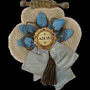 Antique Ribbon Rosette with Bullion Badge Medal for Doll or Bear