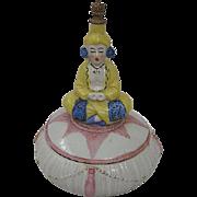 Wonderful Vintage Porcelain Powder Box with Perfume Bottle