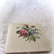 Face Powder Compact Petit Point Very Lovely Circa 1940s