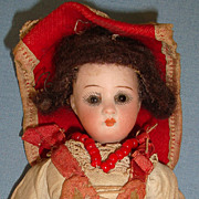 SOLD German Bisque Doll Closed Mouth Antique Original Clothes - Red Tag Sale Item