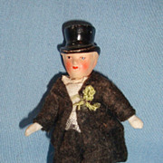 SOLD German All Bisque Dollhouse Doll with Molded Top Hat & Original Groom Tuxedo - Red Tag Sa