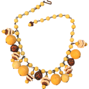 Vintage Glass Bead & Plastic Yellow Dangle Necklace