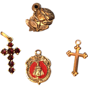 SALE Tiny Religious Doll Jewelry Necklace Pendant Cross etc