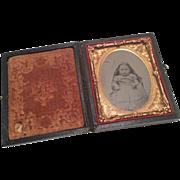 Tintype Baby Photo Ormolu Ornate Frame Antique Victorian Case