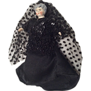 SOLD German Bisque Old Woman in Mourning Black Dress & Veil Antique Dollhouse Doll - Red T
