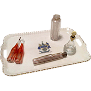 Antique 5 Perfume Bottle Glass on Porcelain Tray for Fashion Doll