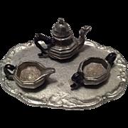 Miniature Pewter Dollhouse Doll Tea Set Teapot Cream Sugar & Tray