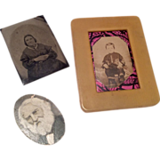 3 Antique Miniature Dollhouse Doll Picture, Celluloid Frame & Tintype