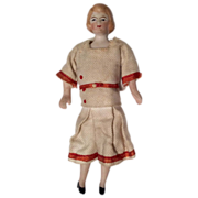 SALE Antique All Original German Bisque Dollhouse Doll Great Outfit