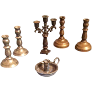 Dollhouse Doll Miniature Candlestick Candle Holder Candelabra Group