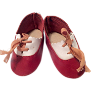 2 Tone Red Leather Doll Shoes
