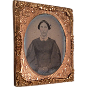 Antique Miniature Ormolu Frame Tintype Photograph Woman in Covered Wagon China Hair for Doll o
