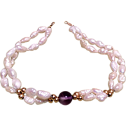 SOLD Pearl Bracelet 14K Gold Beads Clasp Amethyst Bead
