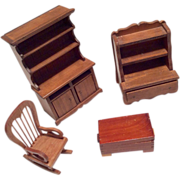 SOLD 4 Piece Wood Dollhouse Doll Chest Trunk Rocking Chair Rocker China Cabinet