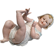 SOLD Large German All Bisque Piano Baby Antique Doll - Red Tag Sale Item