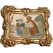 Antique Miniature Dollhouse Doll Ormolu Picture Frame with Lovely Print