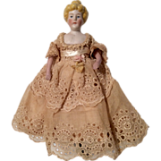 German Bisque Lady Dollhouse Doll All Original Clothes
