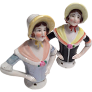 Twin German Half Doll or Pin Cushion Antique Doll Set