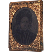 French Miniature Tintype Antique Photo in Ornate Frame with Provenance