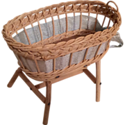 SOLD Vintage Wicker Doll or Dollhouse Miniature Baby Bed Crib