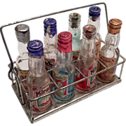 Complete Miniature Set German Liquor Bottle in Metal Holder Doll Size