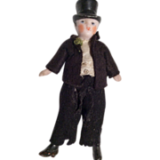SOLD All Bisque Man with Molded Top Hat Bride Groom German Dollhouse Doll in Tuxedo